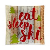 Small Glass Plate - Eat, Sleep, Ski