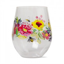Fresh Flowers Acrylic Stemless Wine Glass