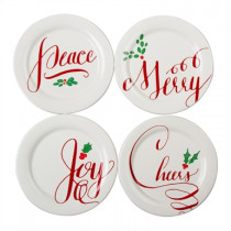 Holiday Wishes Tidbit Plates (set of 4)