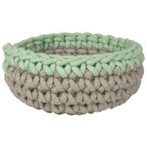 Small Crochet Basket - Grey / Mint